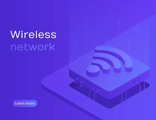 Synchronizacja online iot i połączenie za pomocą bezprzewodowej technologii smartfona. sieć bezprzewodowa. nowoczesna ilustracja w stylu izometrycznym