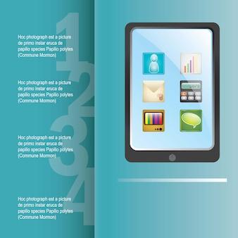 Synchronizuje wszystkie aplikacje na tablecie na niebieskim tle