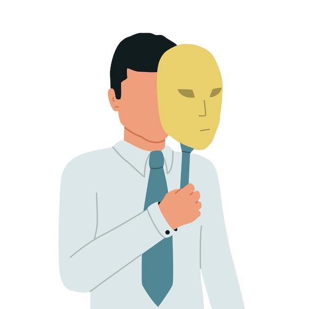 Syndrom oszusta. biznesmen chowa twarz za teatralną maską. mężczyzna ukrywa swoją tożsamość. ilustracja.