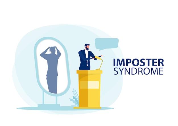 Syndrom oszusta. mężczyzna stojący za swoim obecnym profilem z cieniem strachu za plecami. lęk i brak pewności siebie w pracy