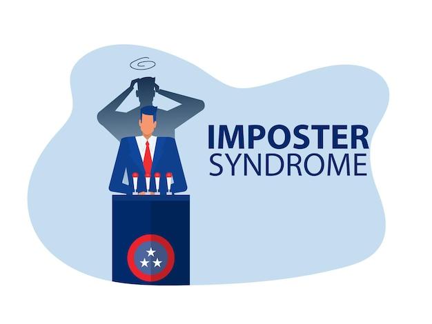 Syndrom oszustabiznesmen stojący za swoim obecnym profilem z wektorem cienia strachu