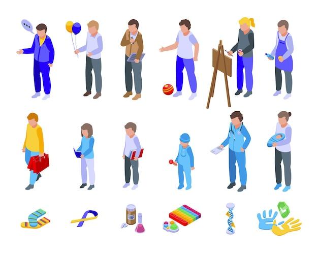 Syndrom w dół ikony zestaw izometryczny wektor. niepełnosprawność w opiece nad dziećmi