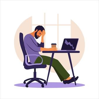 Syndrom wypalenia zawodowego. ilustracja zmęczony pracownik biurowy siedzi przy stole. sfrustrowany pracownik, problemy ze zdrowiem psychicznym. ilustracja wektorowa w mieszkaniu.