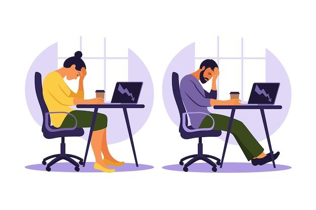 Syndrom wypalenia zawodowego. ilustracja zmęczony pracownik biurowy siedzi przy stole. sfrustrowany pracownik, problemy ze zdrowiem psychicznym.
