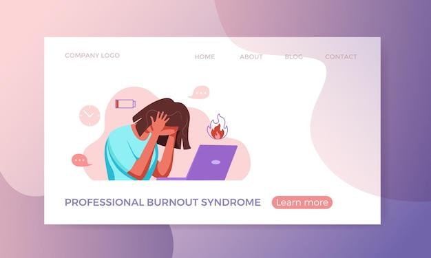 Syndrom wypalenia zawodowego wyczerpana kobieta zmęczona siedząca w swoim miejscu pracy w biurze, trzymając ją w ramionach