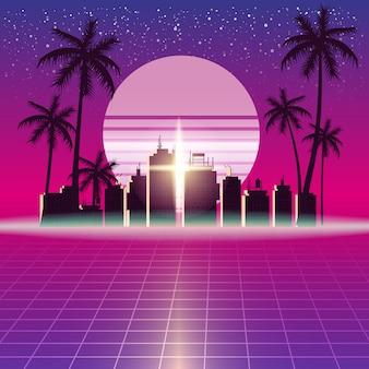 Synthwave retro futurystyczny krajobraz z miastem
