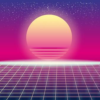 Synthwave retro futurystyczny krajobraz ze słońcem i stylizowaną siatką laserową. neonowy design mikrofalowy i elementy science fiction z lat 80. 90. przestrzeń kosmiczna