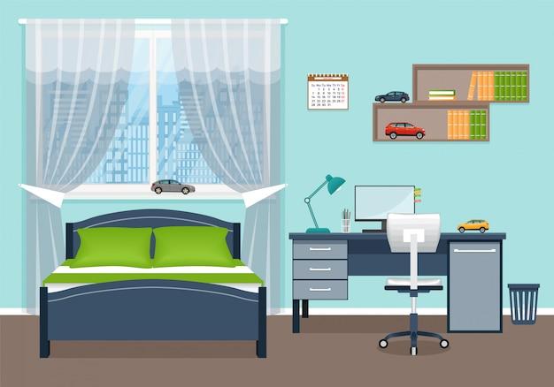 Sypialnia chłopca. wnętrze pokoju z meblami.