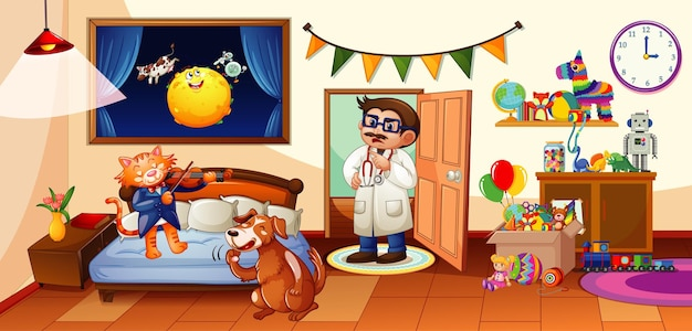 Sypialnia dla dzieci z wieloma zabawkami oraz sceną z psem i kotem