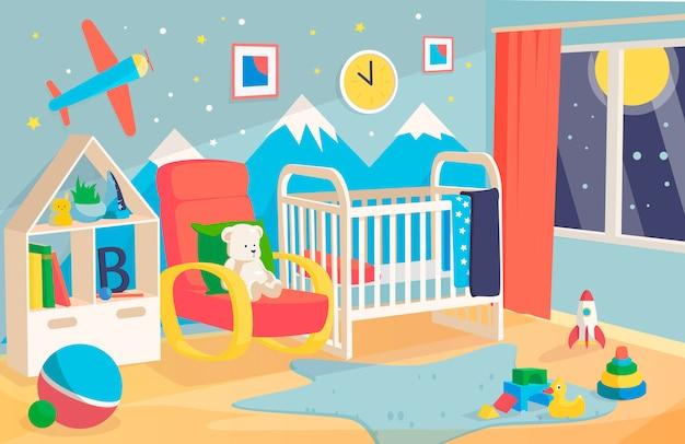 Sypialnia dla dziecka z łóżkiem i miękkimi zabawkami z górami i samolotem na ścianie.