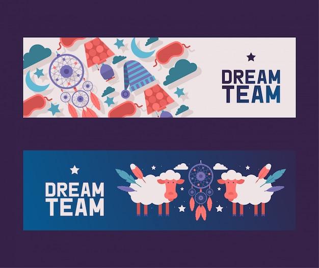 Sypialnia dostarcza zestaw bannerów wieczorne niebo z owieczką i łapaczem snów wśród chmur, gwiazd i księżyca. koncepcja wyposażenia nocy.