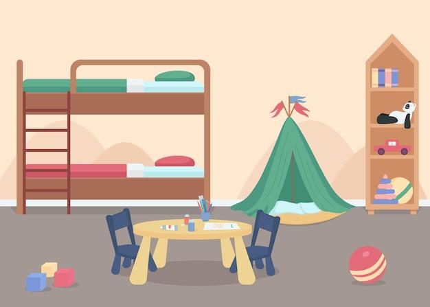 Sypialnia dziecięca dla męskiego malucha w kolorze płaskim. pokój dla dzieci z zabawkami. meble do domu zapewniające komfortowy styl życia. pokój przedszkolny postacie z kreskówek 2d z łóżkiem piętrowym