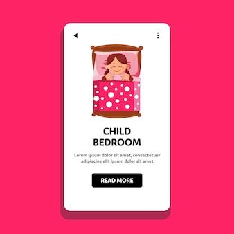 Sypialnia dziecka do spania mała dziewczynka
