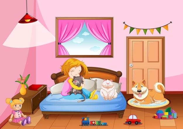 Sypialnia dziewczynki w różowej kolorystyce z dziewczyną i zwierzakiem
