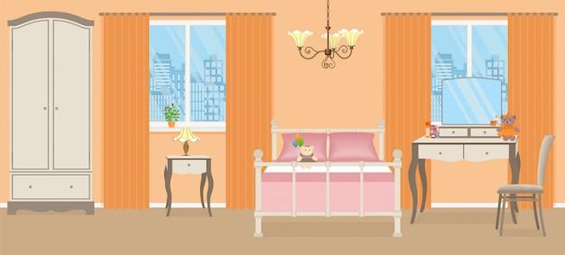 Sypialnia dziewczynki. wnętrze pokoju z meblami. ilustracji wektorowych.