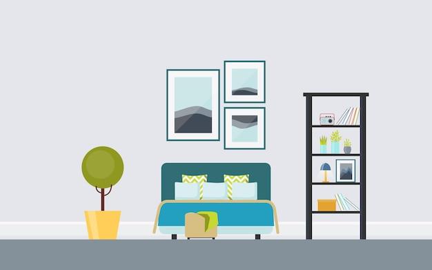 Sypialnia retro z tapicerowanym łóżkiem małżeńskim, drabiną vintage, tryptykiem.