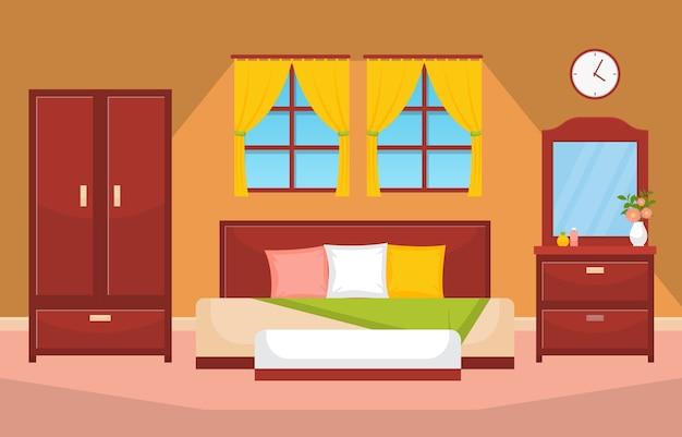 Sypialnia sypialnia łóżko projektowanie wnętrz nowoczesny dom ilustracja