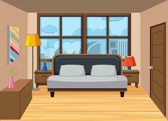 Sypialnia w wysokim mieszkaniu