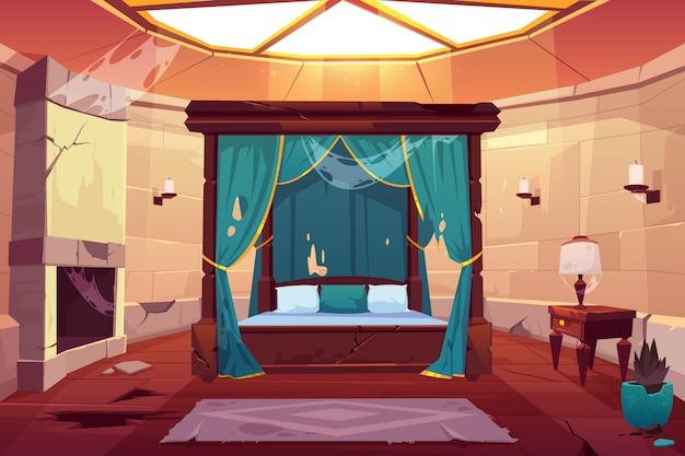 Sypialnia w zamku lub pałacu. puste słoneczne mieszkanie