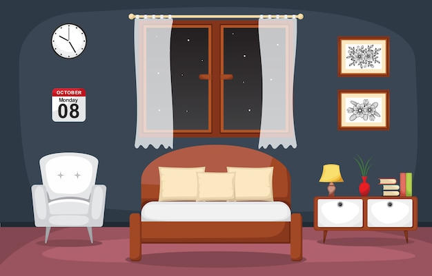 Sypialnia wnętrza sypialnia płaska konstrukcja ilustracja