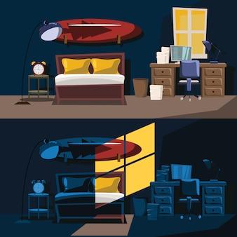 Sypialnia wystroju wektoru wewnętrzna ilustracja