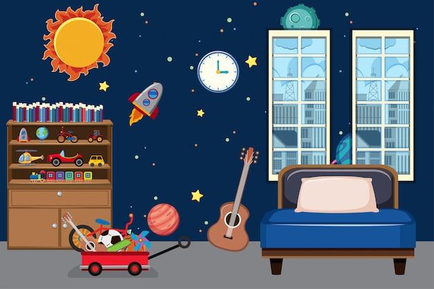 Sypialnia z tapetą kosmiczną