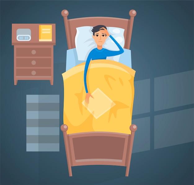 Sypialny młody człowiek w łóżkowej ilustraci.