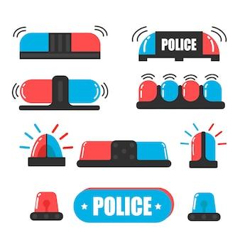 Syrena. flasher policjanta lub flasher ambulansu. wektor światło policji syreny. żarówki są niebieskie i czerwone.