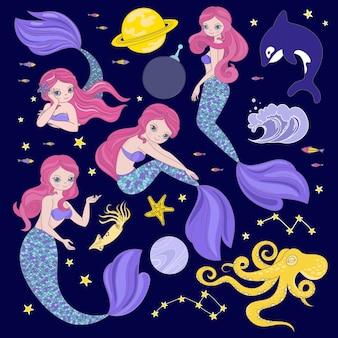 Syrena w kosmosie kreskówka kosmos galaktyczna księżniczka zestaw ilustracji clipart