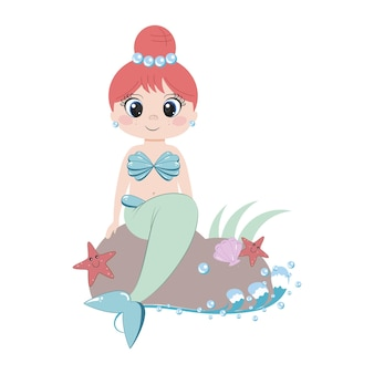 Syrena z piękną fryzurą i biżuterią siedzi na kamieniu na plaży. gwiazdy morskie, muszle i ocean. ilustracja dla dzieci dla dziewczynek. projektowanie plakatów, pocztówek, książek