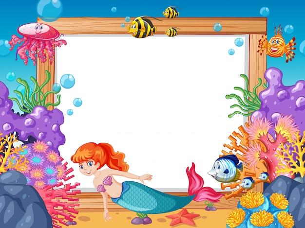 Syrenka i motyw zwierząt morskich z pustym sztandarem stylu cartoon na tle morza