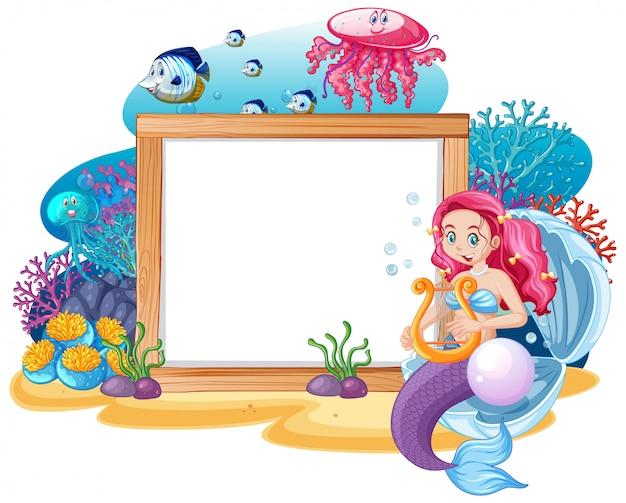 Syrenka i motyw zwierząt morskich z pustym sztandarem stylu kreskówka na białym tle