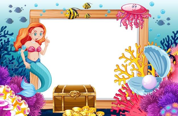 Syrenka i motyw zwierząt morskich z pustym sztandarem w stylu kreskówki na morzu