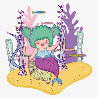 Syrenka kobieta w skorupach i ryba z gałęzatkowymi roślinami