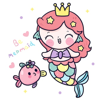 Syrenka księżniczka kreskówka i ilustracja kawaii uroczych ryb