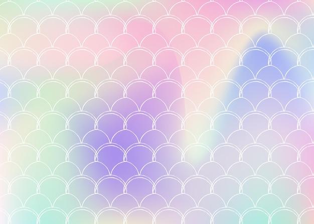 Syrenka łuski tło z holograficznym gradientem. jasne przejścia kolorów. transparent ogon ryby i zaproszenie. podwodny i morski wzór na dziewczęcą imprezę. fluorescencyjne tło z łuskami syreny.