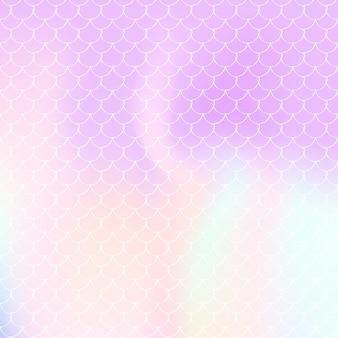Syrenka łuski tło z holograficznym gradientem. jasne przejścia kolorów. transparent ogon ryby i zaproszenie. podwodny i morski wzór na dziewczęcą imprezę. modne tło z łuskami syreny.