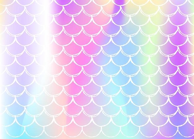 Syrenka łuski tło z holograficznym gradientem. jasne przejścia kolorów. transparent ogon ryby i zaproszenie. podwodny i morski wzór na dziewczęcą imprezę. plastikowe tło z łuskami syreny.