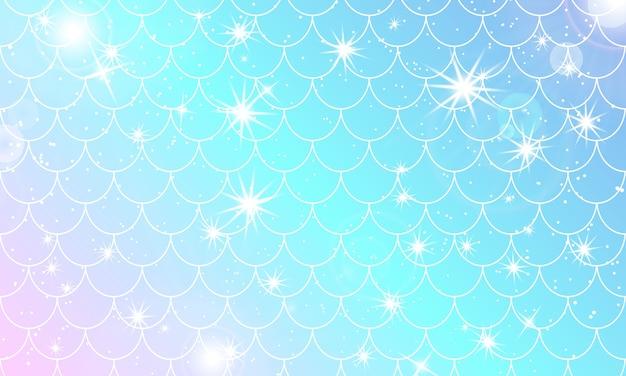 Syrenka wzór kawaii. skala rybna. akwarela gwiazdy holograficzne.