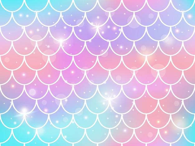 Syrenka wzór łuski. tęczowa księżniczka syrenka tło, magiczne błyszczy podwodne łuski typu fishtail, wzór tła syreny kawaii. skala skóry syreny, bez szwu ilustracji morskich