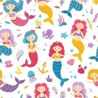 Syrenka wzór. tło do druku podwodne syreny. śliczny nadruk dziecięcy z księżniczkami oceanu. morskie wróżki