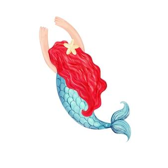 Syrenka z czerwonymi włosami ręcznie rysowane akwarela ilustracja