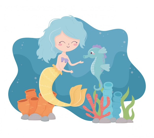 Syrenka z kreskówki rafa konika morskiego koralowej ilustracji wektorowych w morzu