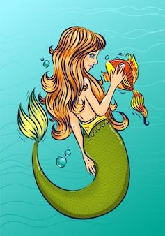 Syrenka ze złotą rybką w morzu. postać z kreskówki bajki