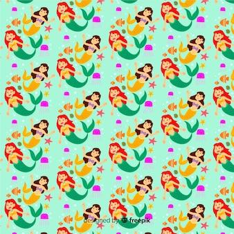Syrenki pływanie wzór płaski