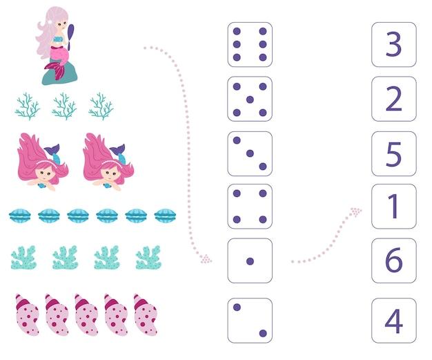 Syreny. arkusz do nauczania matematyki i liczenia. dla dzieci w wieku przedszkolnym i przedszkolnym. wektor, styl kreskówki.