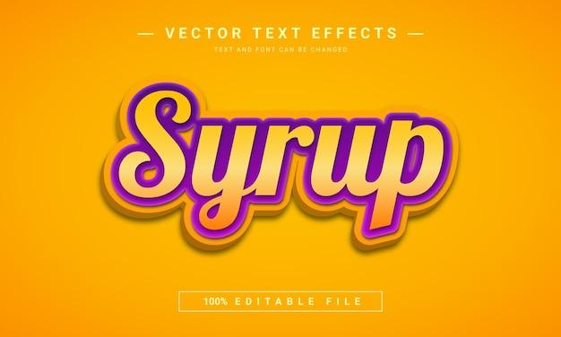 Syrop 3d edytowalny szablon efektu tekstowego