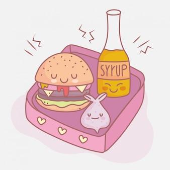 Syrop burger i lunch menu restauracji słodkie jedzenie