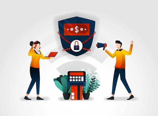 System bezpieczeństwa bankowego z tarczami i łańcuchami