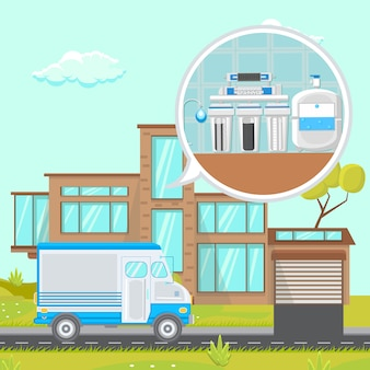 System filtracji wody w domu z płaskim ilustracji